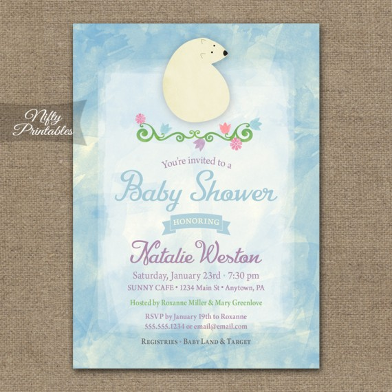 Polar Bear Winter Boy Baby Shower Invitations