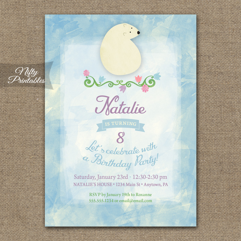 Polar Bear Birthday Invitations