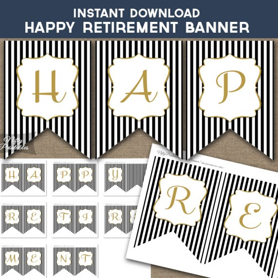 Happy Retirement Banner - Black & Gold