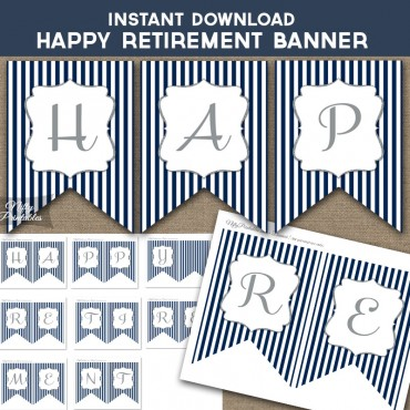 Happy Retirement Banner - Navy & Silver