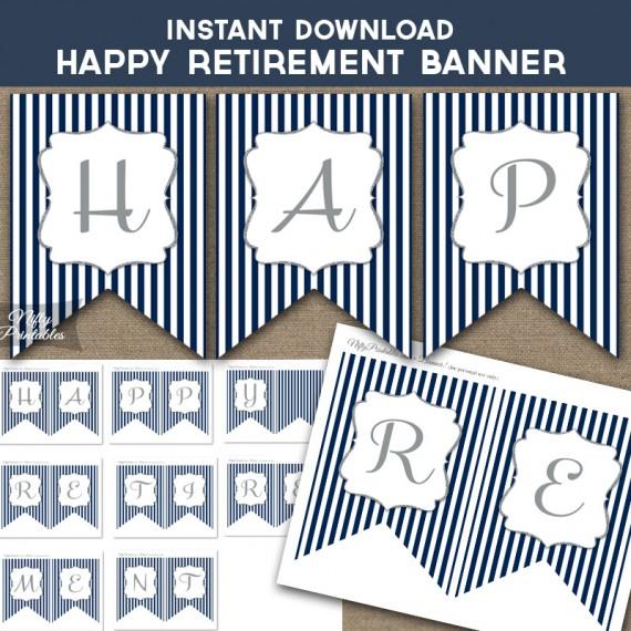 Happy Retirement Banner - Navy & Silver