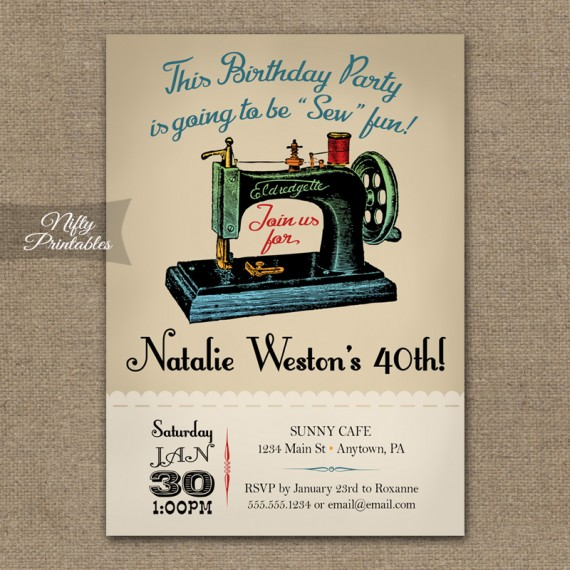 Sewing Birthday Invitations
