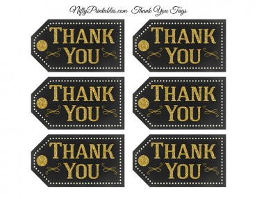 Chalkboard Gold Thank You Favor Tags