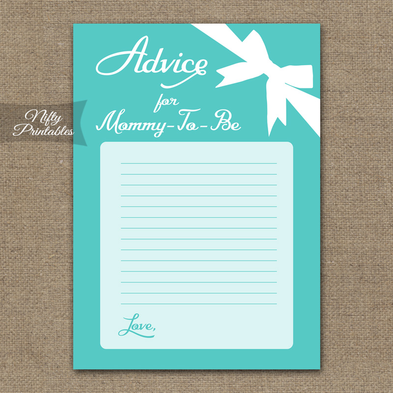 Advice For Mommy Baby Shower Game - Tiffany Blue