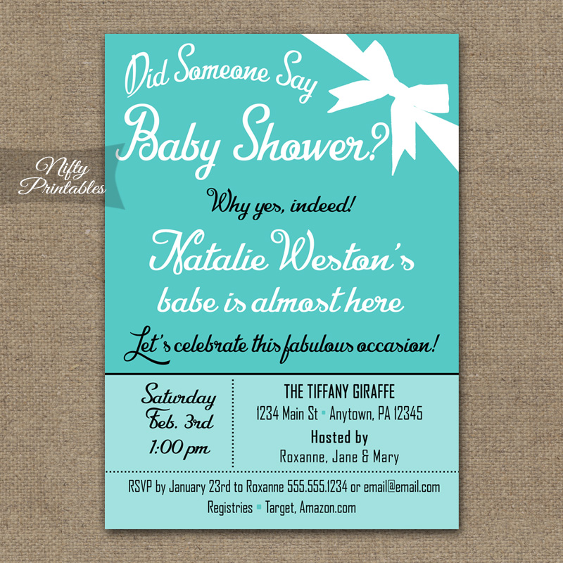 Tiffany Blue Gender Neutral Baby Shower Invitations