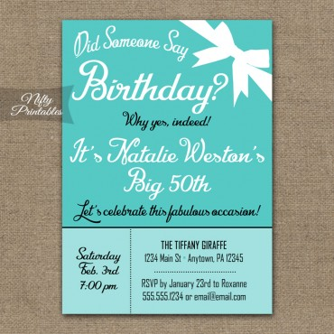 Tiffany Blue Birthday Invitations