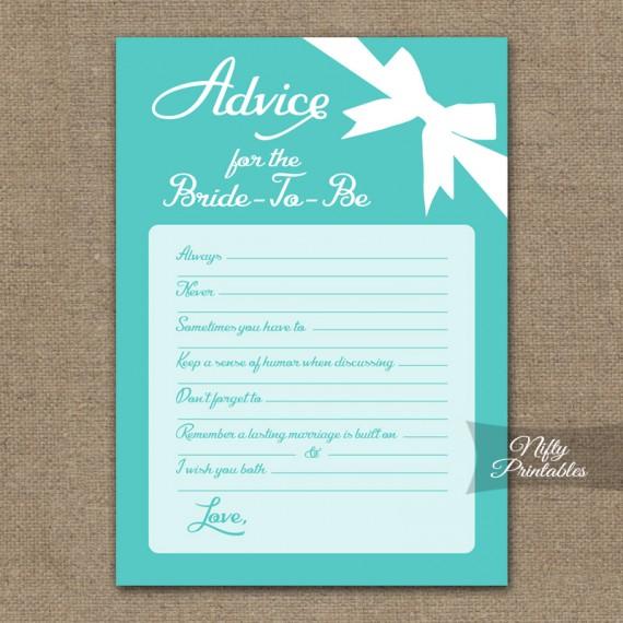 Bridal Shower Advice Cards - Tiffany Blue