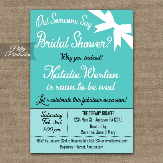 Tiffany Blue Bridal Shower Invitations