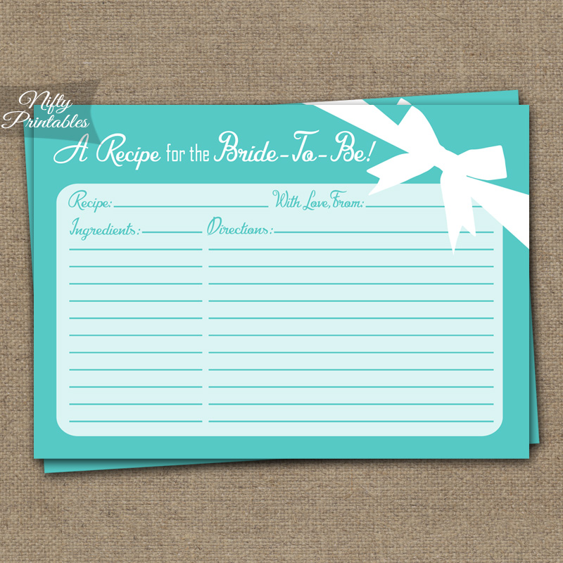 Bridal Shower Recipe Cards - Tiffany Blue