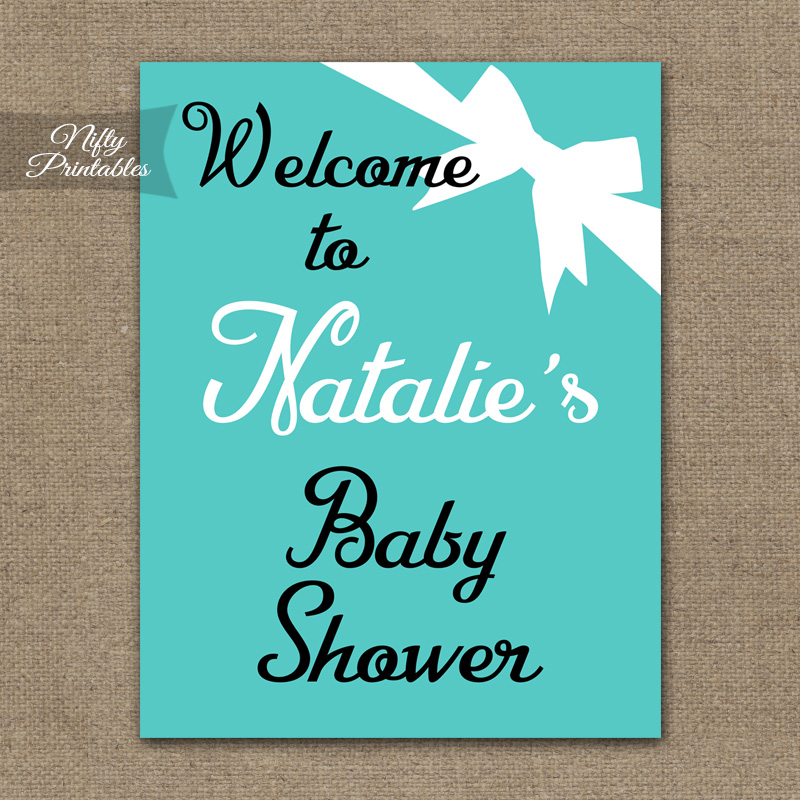 Tiffany Blue Girl Baby Shower Welcome Sign