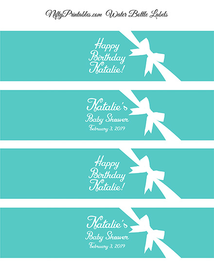 Tiffany Blue Printable Water Bottle Labels