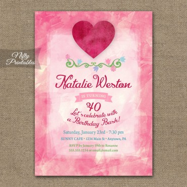 Pink Heart Valentines Birthday Invitations