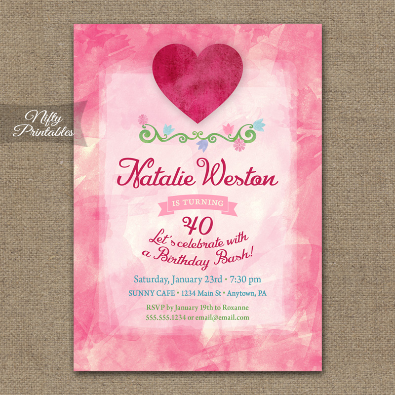 Pink Heart Valentines Birthday Invitations