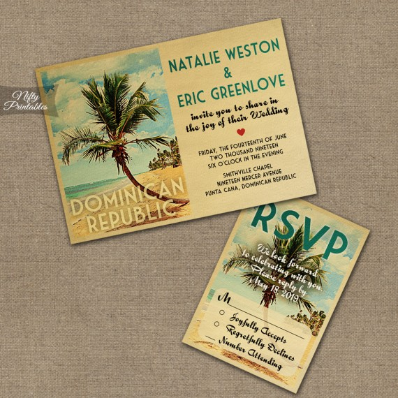 Dominican Republic Wedding Invitations - Beach VTW