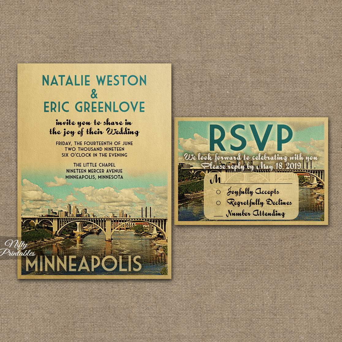 Minneapolis Wedding Invitations VTW