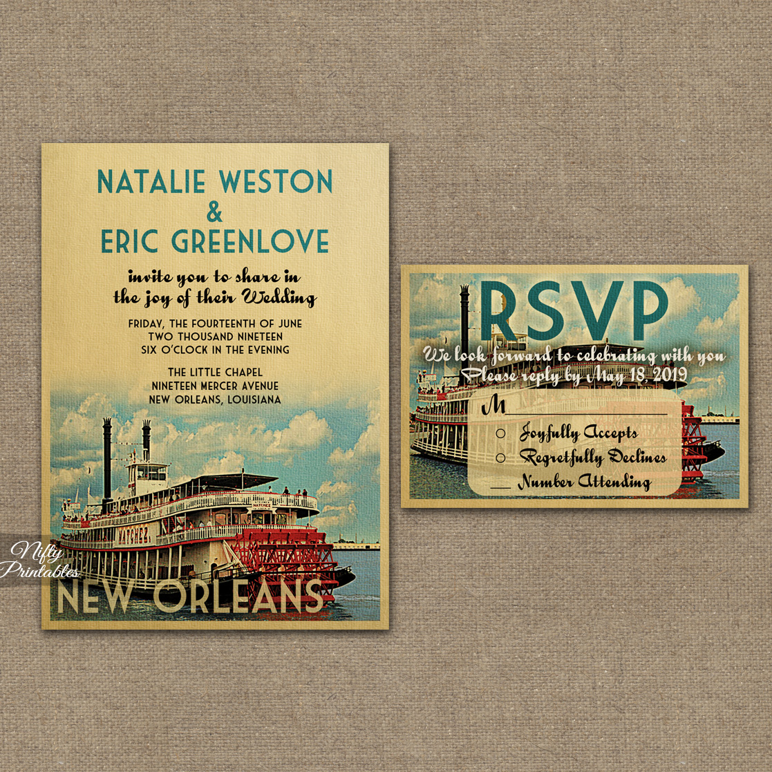 New Orleans Louisiana Wedding Invitations VTW