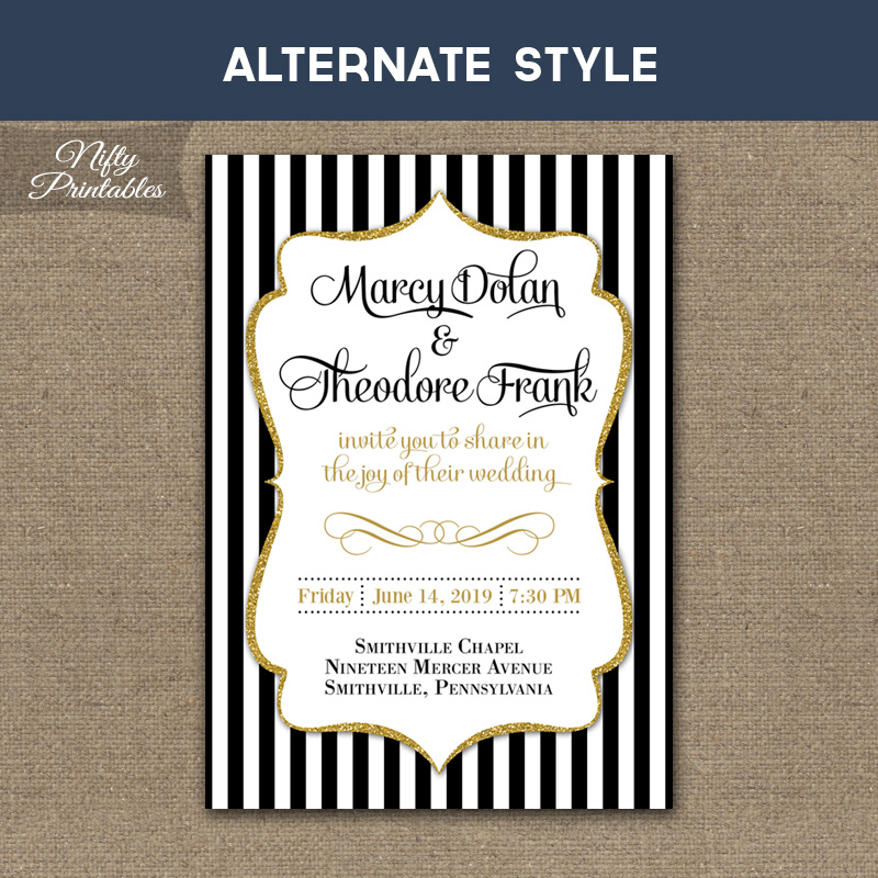 Black & White Striped Gold Wedding Invitations