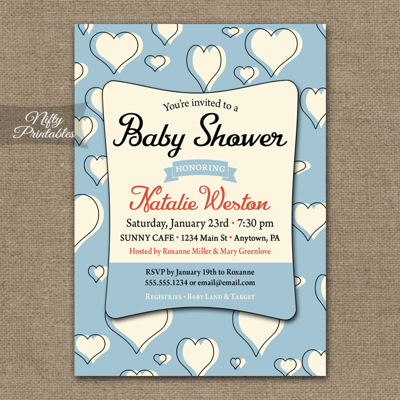 Blue Hearts Boy Baby Shower Invitations