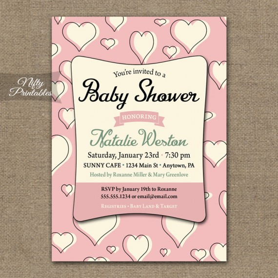 Pink Hearts Girl Baby Shower Invitations