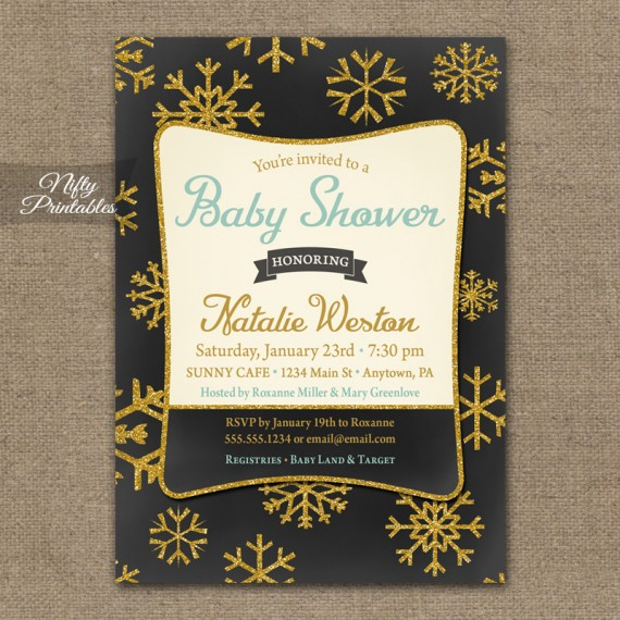 Glitter Snowflake Baby Shower Invitations - Chalkboard