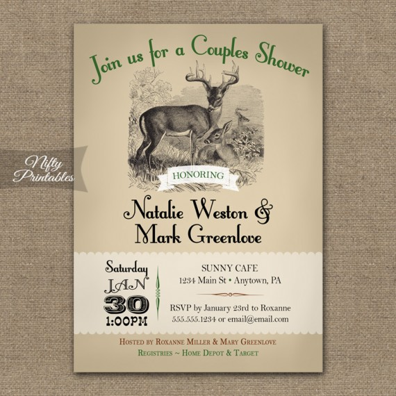 Couples Wedding Shower Invitations - Woodlands