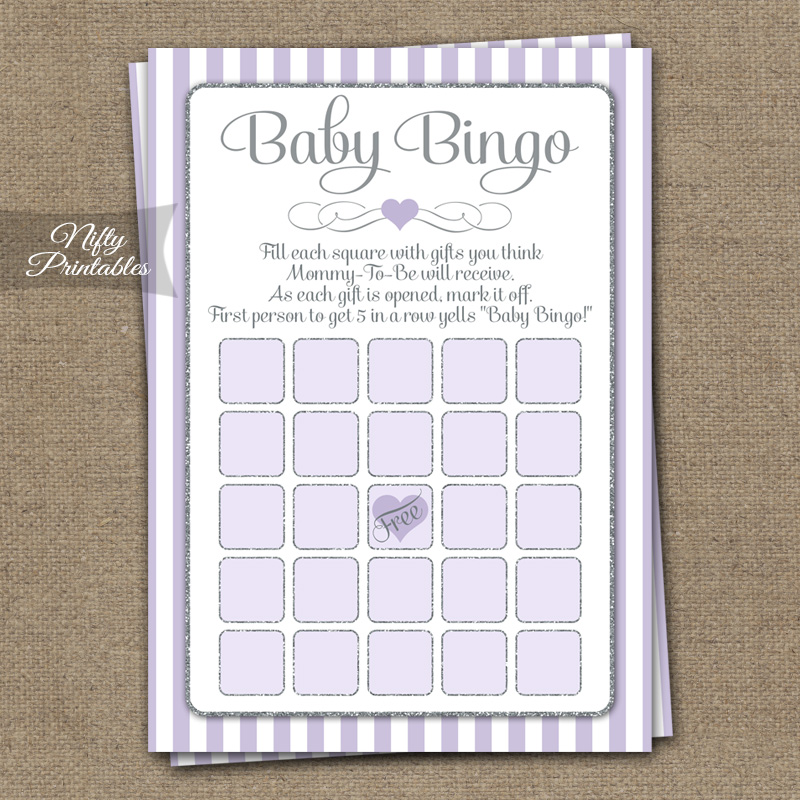 Baby Shower Bingo Game - Lilac Silver