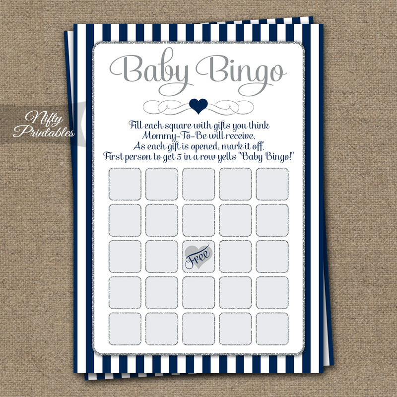 Baby Shower Bingo Game - Navy Blue Silver