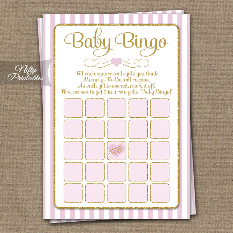 Baby Shower Bingo Game - Pink Gold