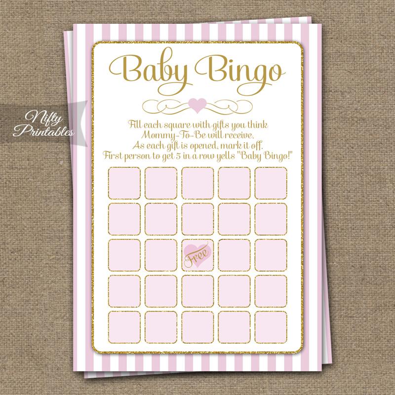 Printable Baby Shower Bingo Game Pink Gold