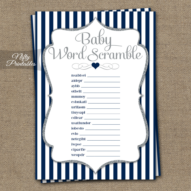 Baby Shower Word Scramble Game   Navy Blue Silver