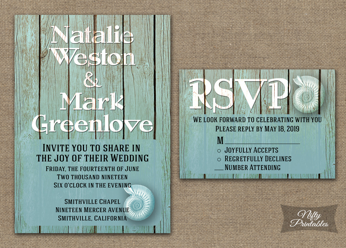 Beach Wood Nautical Wedding Invitations