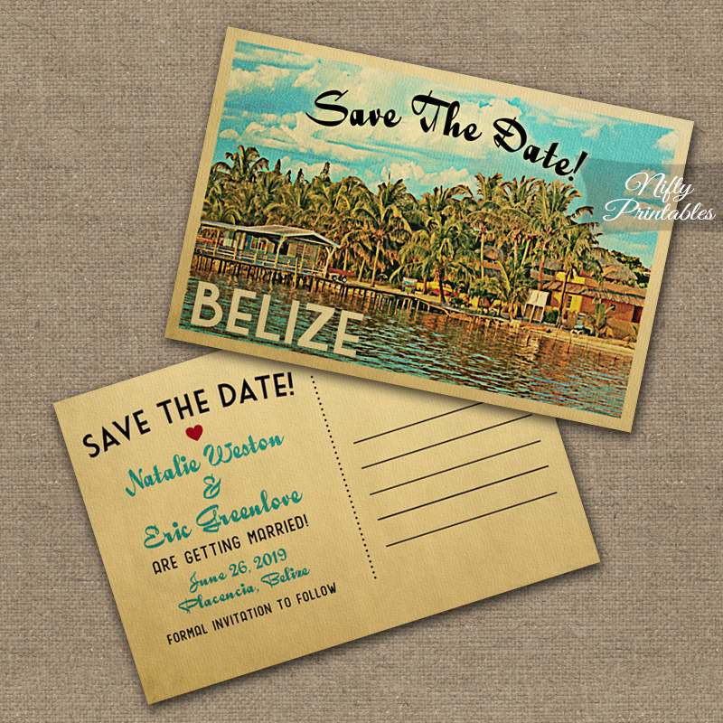 Belize Save The Date Postcards VTW