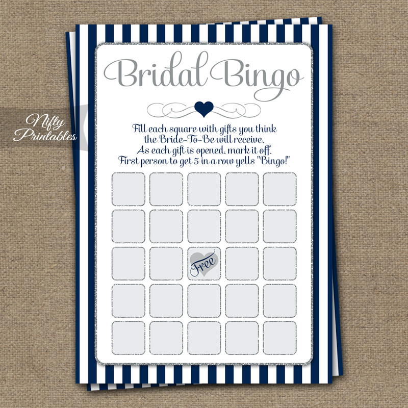 bridal shower bingo game navy blue