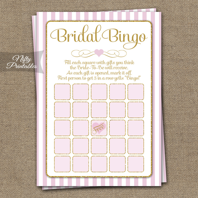 Bridal Shower Bingo Game - Pink Gold