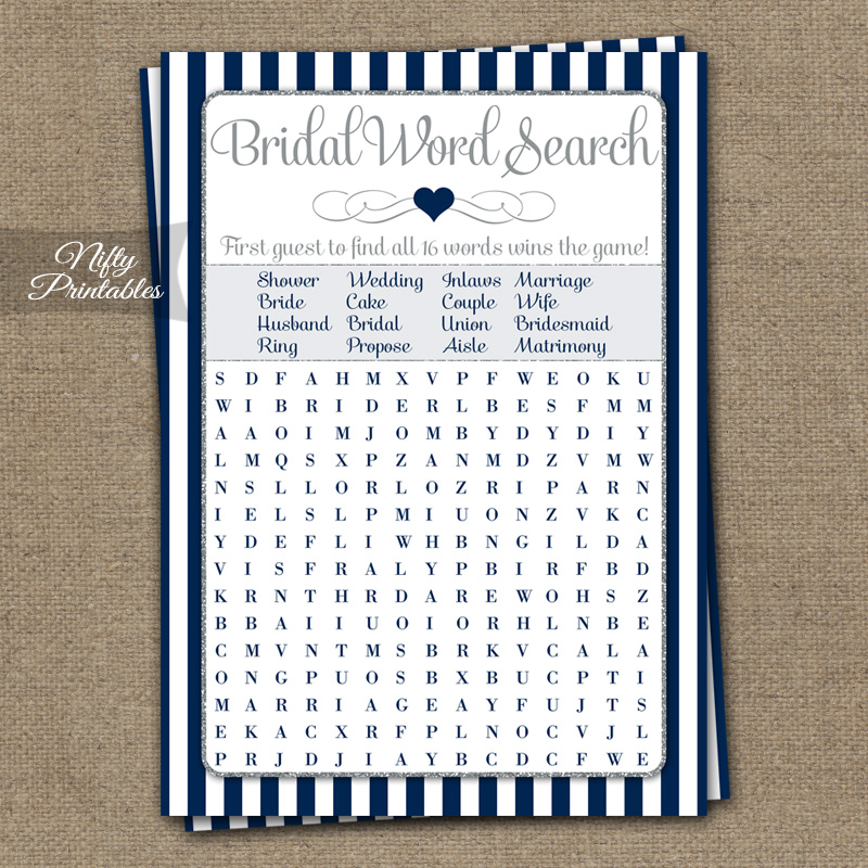 Bridal Shower Word Search Game - Navy Blue
