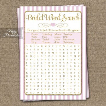 Bridal Shower Word Search Game - Pink Gold