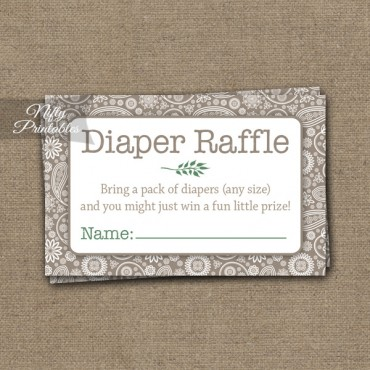 Diaper Raffle Baby Shower - Tan Khaki Neutral