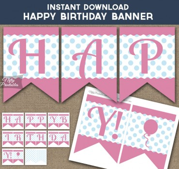Happy Birthday Banner - Pink Blue Polka Dots