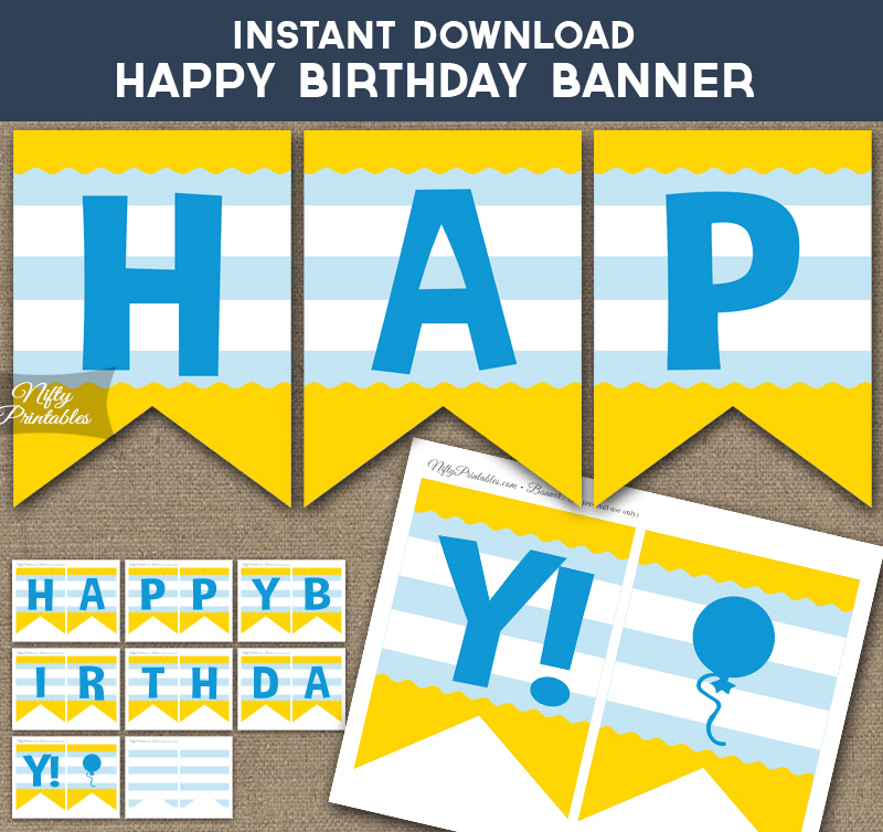 picture regarding Happy Birthday Printable Banner referred to as Content Birthday Banner - Youngsters Yellow Blue Stripe