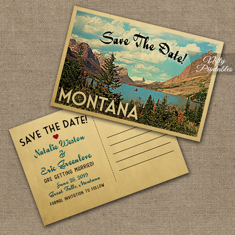 Custom Vintage Save The Date Postcards VTW
