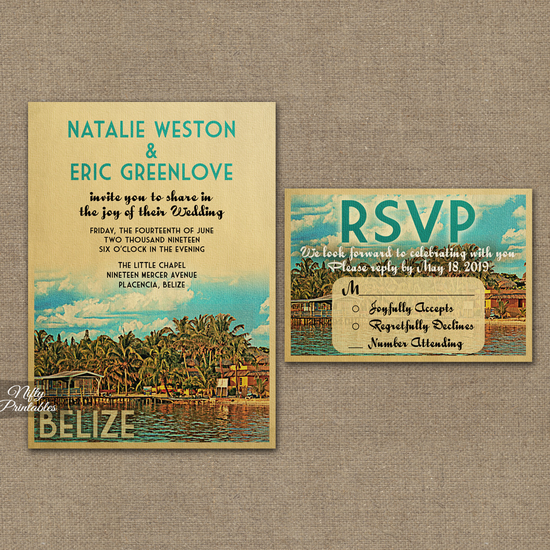 Belize Wedding Invitations Vtw