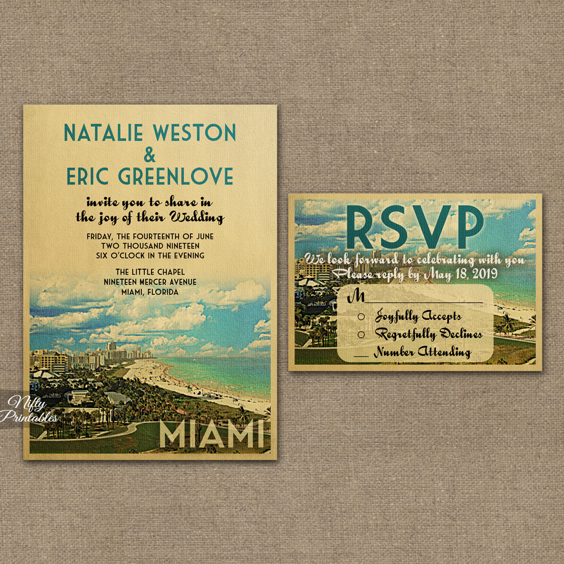 Miami Florida Wedding Invitations VTW