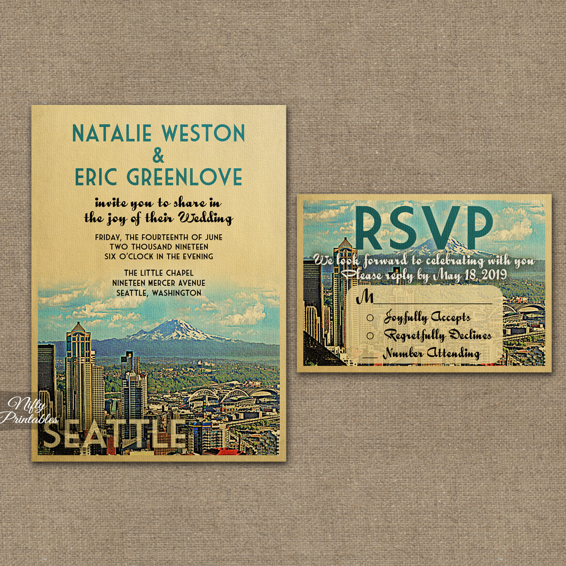 Seattle Skyline Wedding Invitations VTW