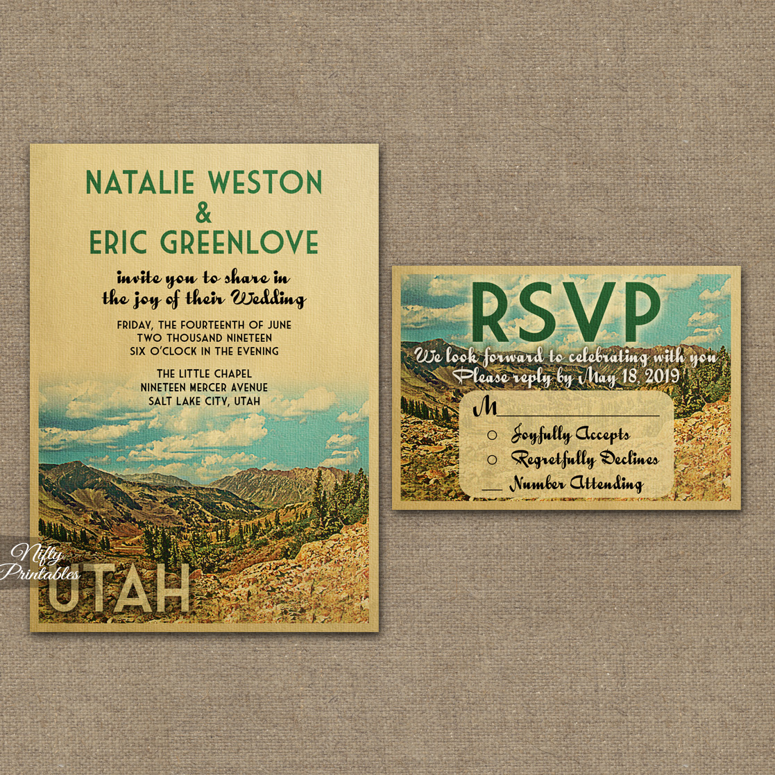 Utah Wedding Invitations VTW