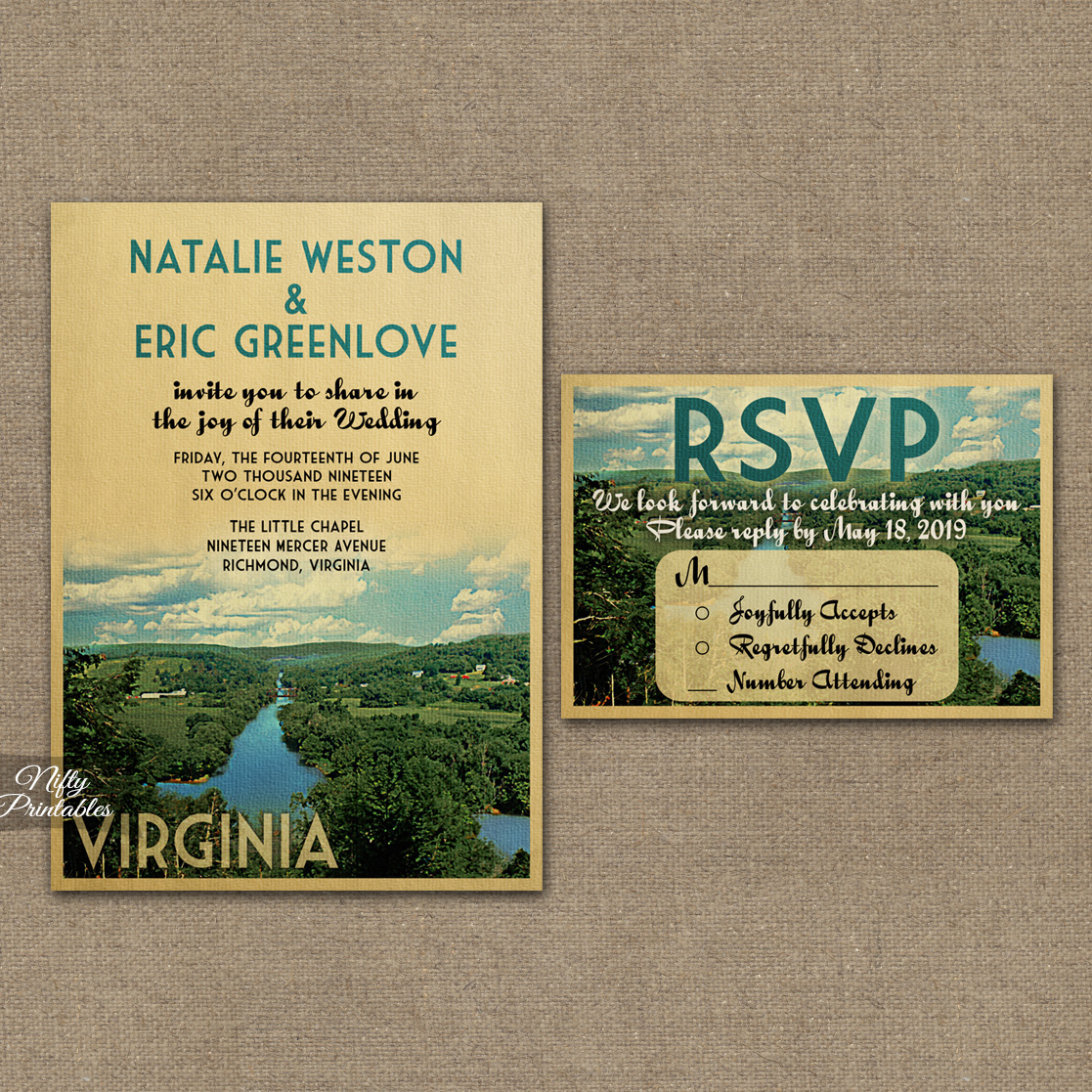 Virginia Wedding Invitations VTW