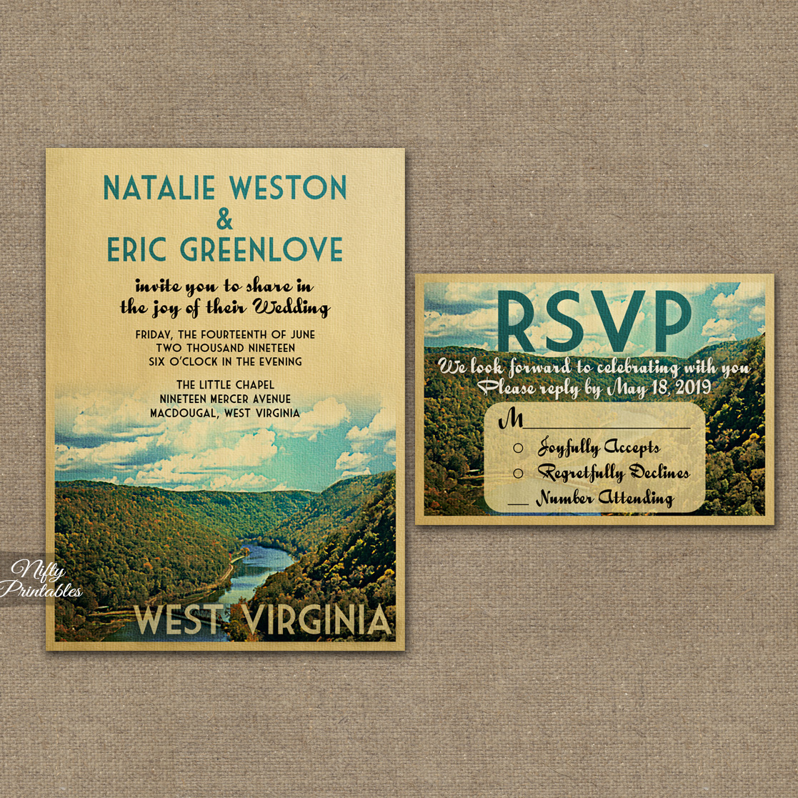 West Virginia Wedding Invitations VTW
