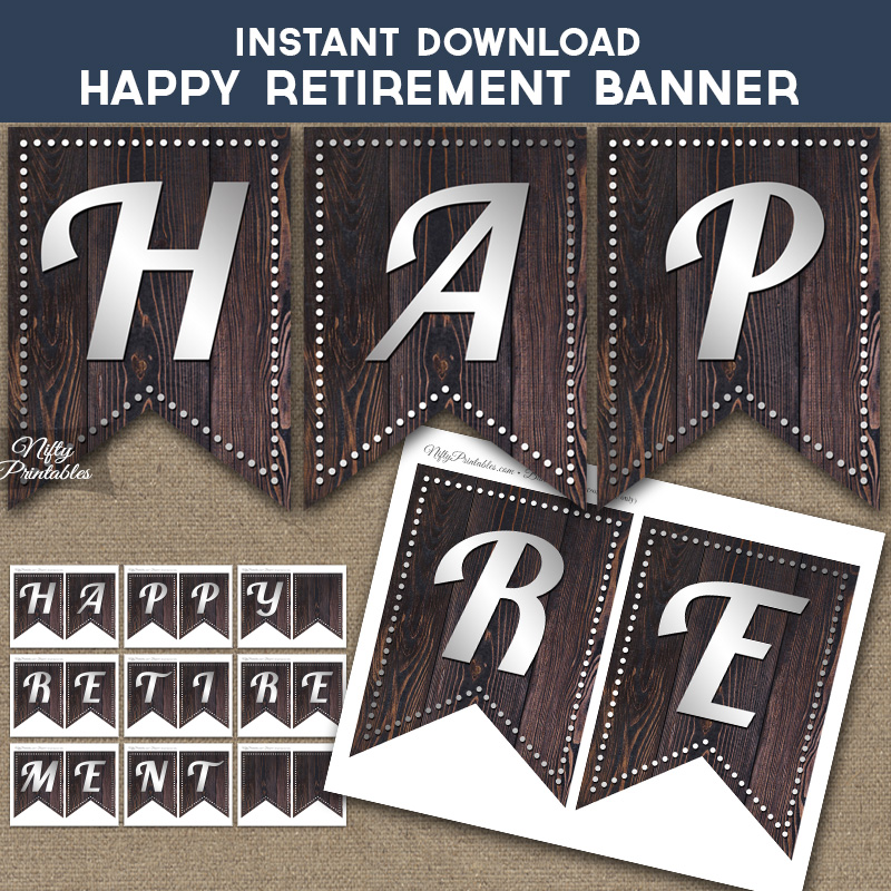Happy Retirement Banner - Rustic Wood Silver