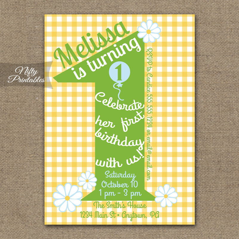 1st Birthday Girls Yellow Daisy Invitations