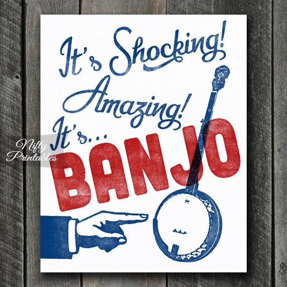 Banjo Print - Funny Retro