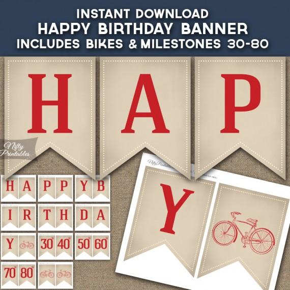 Bicycle Happy Birthday Banner